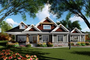 Ranch Exterior - Front Elevation Plan #70-1418
