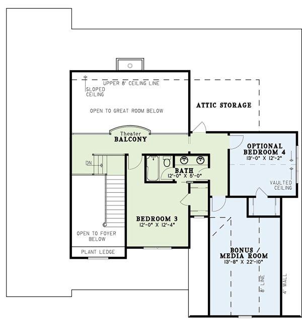 Traditional Floor Plan - Upper Floor Plan Plan #17-3424