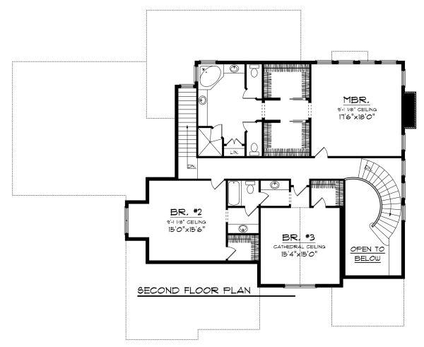 Traditional Floor Plan - Upper Floor Plan Plan #70-1143