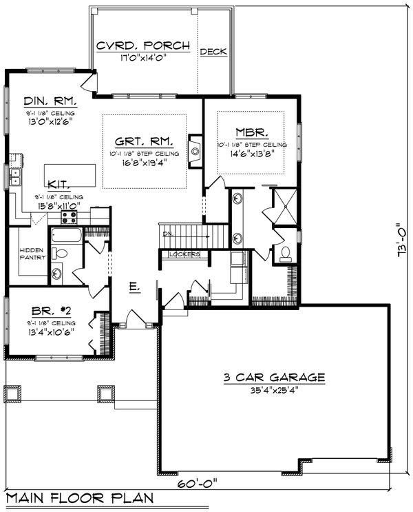 Ranch Style House Plan - 2 Beds 2 Baths 1736 Sq/Ft Plan #70-1484 Floor Plan - Main Floor Plan