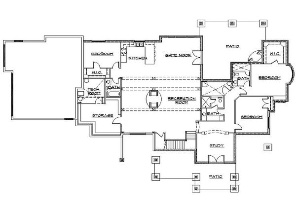 Craftsman Floor Plan - Lower Floor Plan Plan #5-469