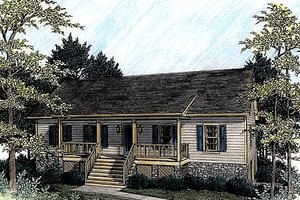 Architectural House Design - Country Exterior - Front Elevation Plan #56-139
