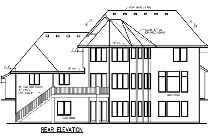 Traditional Exterior - Rear Elevation Plan #56-605 - Houseplans.com