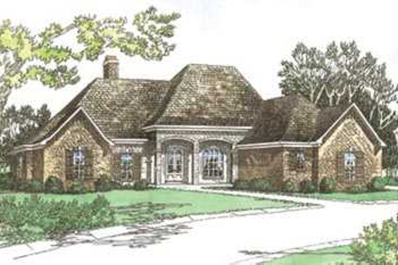 European Style House Plan - 3 Beds 2.5 Baths 2418 Sq/Ft Plan #15-145 Exterior - Front Elevation