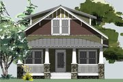 Craftsman Style House Plan - 3 Beds 2.5 Baths 1664 Sq/Ft Plan #461-64 Exterior - Front Elevation