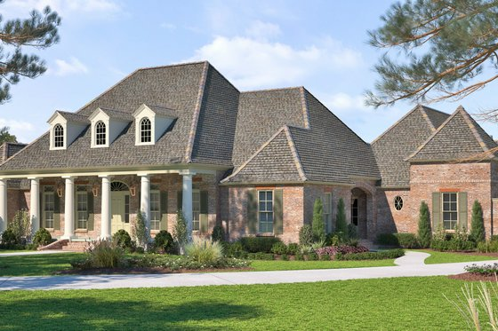 Southern Exterior - Front Elevation Plan #1074-12