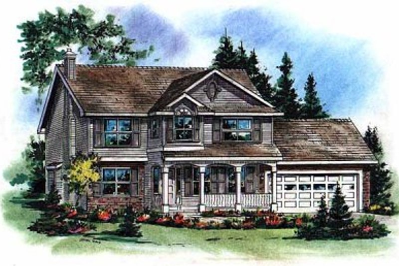 Farmhouse Style House Plan - 5 Beds 2.5 Baths 2002 Sq/Ft Plan #18-268 Exterior - Front Elevation