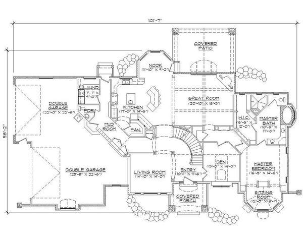 House Plan Design - European Floor Plan - Main Floor Plan #5-415