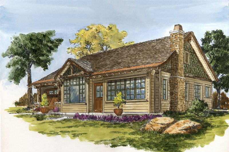 Cabin Style House Plan - 2 Beds 2 Baths 1065 Sq/Ft Plan #942-59 Exterior - Front Elevation