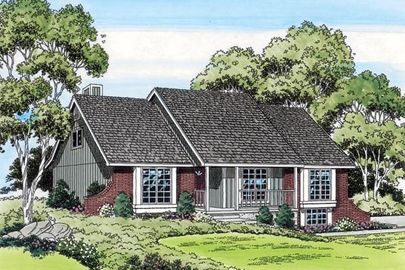 Ranch Style House Plan - 3 Beds 2.5 Baths 1795 Sq/Ft Plan #312-293 Exterior - Front Elevation