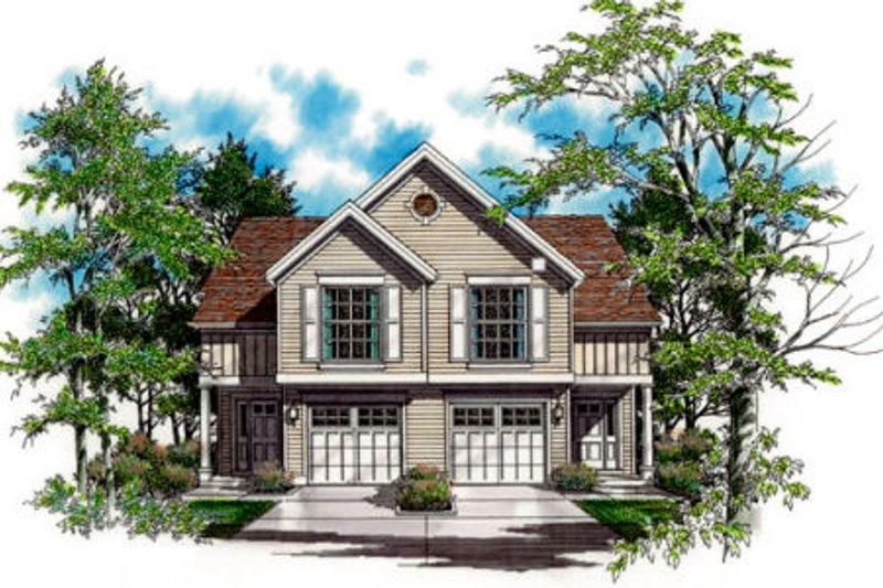 Traditional Style House Plan - 3 Beds 2.5 Baths 1452 Sq/Ft Plan #48-153 Exterior - Front Elevation