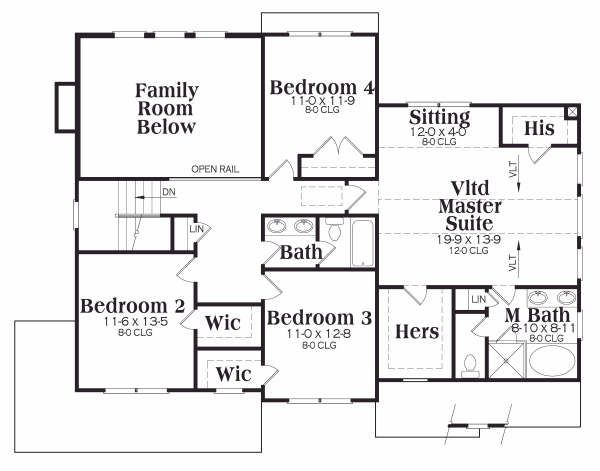 Traditional Floor Plan - Upper Floor Plan Plan #419-159