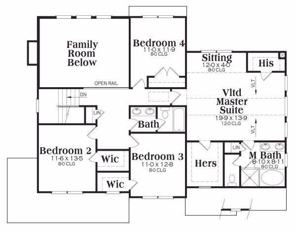 Traditional Floor Plan - Upper Floor Plan Plan #419-159