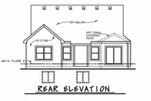 Home Plan - Ranch Exterior - Rear Elevation Plan #20-2313