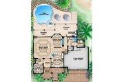 Mediterranean Style House Plan - 4 Beds 5.5 Baths 4745 Sq/Ft Plan #27-451 Floor Plan - Lower Floor Plan