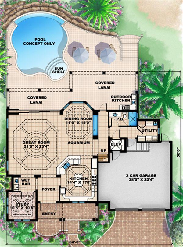 Mediterranean Floor Plan - Lower Floor Plan Plan #27-451