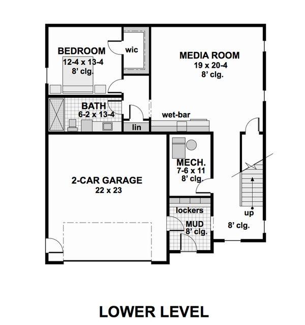Contemporary Floor Plan - Lower Floor Plan Plan #51-580