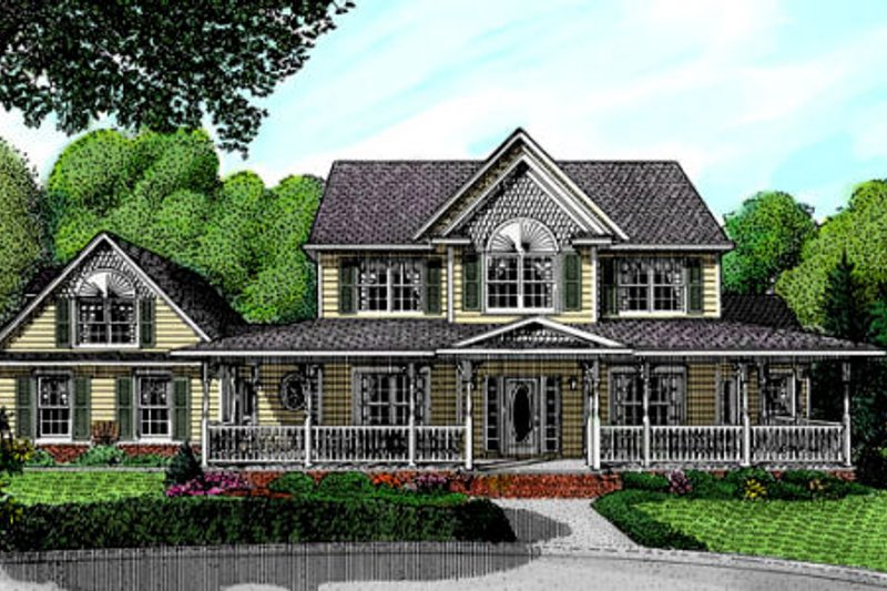 Farmhouse Style House Plan - 3 Beds 2.5 Baths 2645 Sq/Ft Plan #11-211 Exterior - Front Elevation