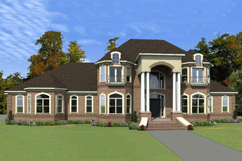 Colonial Style House Plan - 4 Beds 4 Baths 6129 Sq/Ft Plan #63-411 Exterior - Front Elevation