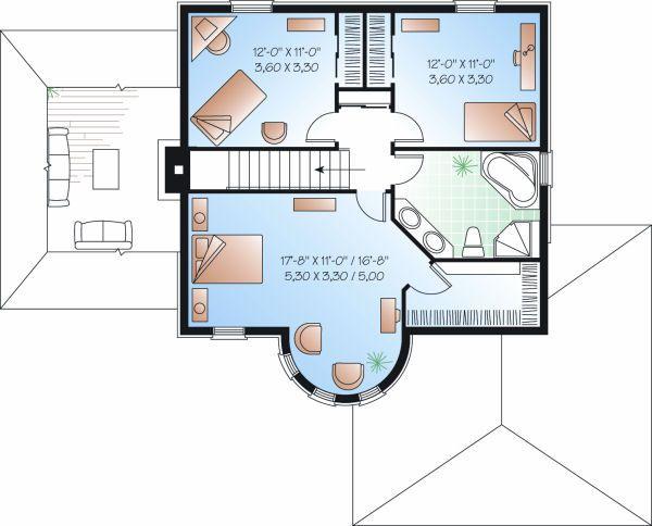 European Floor Plan - Upper Floor Plan Plan #23-810