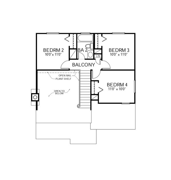 Traditional Floor Plan - Upper Floor Plan Plan #80-105