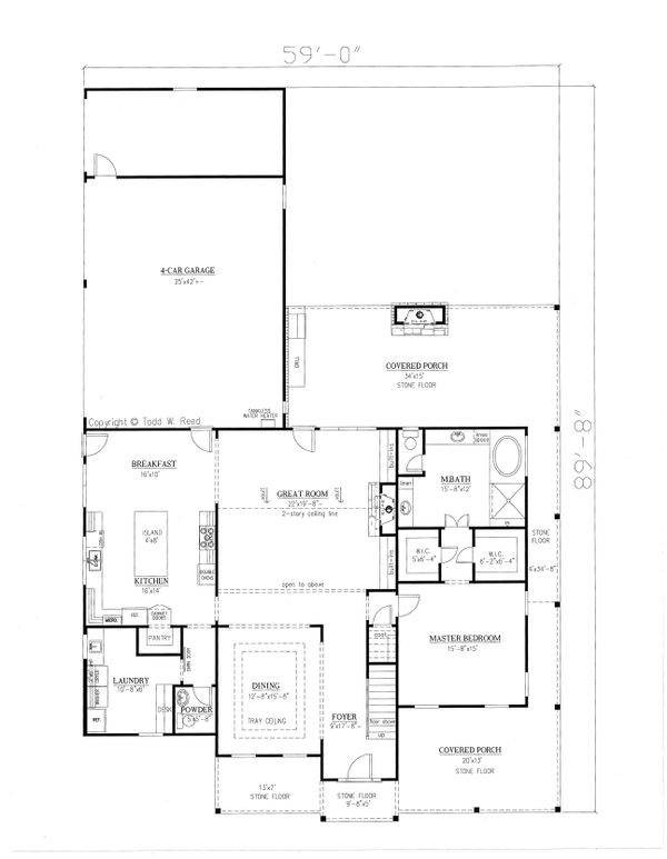 Farmhouse Style House Plan - 4 Beds 4.5 Baths 4020 Sq/Ft Plan #437-92 Floor Plan - Main Floor Plan
