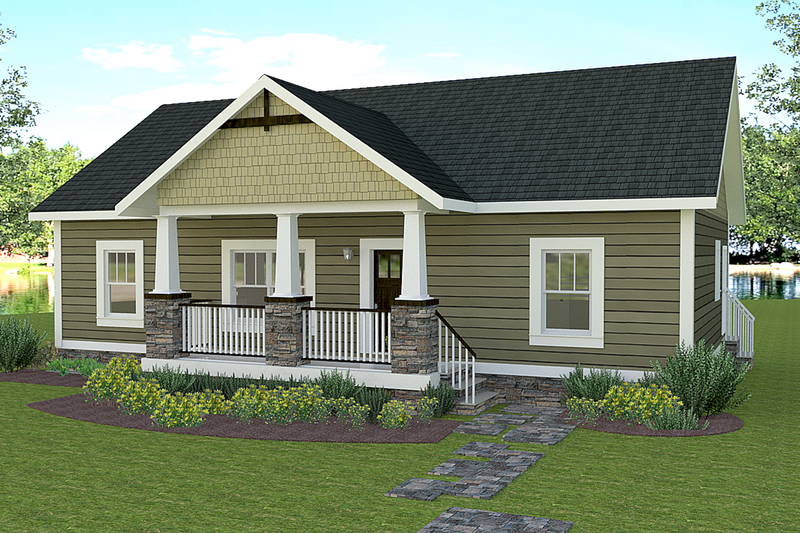 Craftsman Style House Plan - 2 Beds 2 Baths 1311 Sq/Ft Plan #44-225 Exterior - Front Elevation