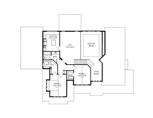 Craftsman Floor Plan - Upper Floor Plan Plan #920-105