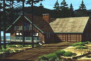 Cabin Exterior - Front Elevation Plan #320-297