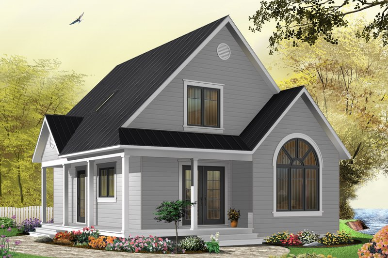 Cottage Style House Plan - 3 Beds 2 Baths 1226 Sq/Ft Plan #23-824 Exterior - Front Elevation