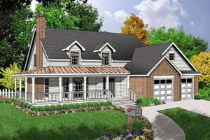 Country Exterior - Front Elevation Plan #40-118