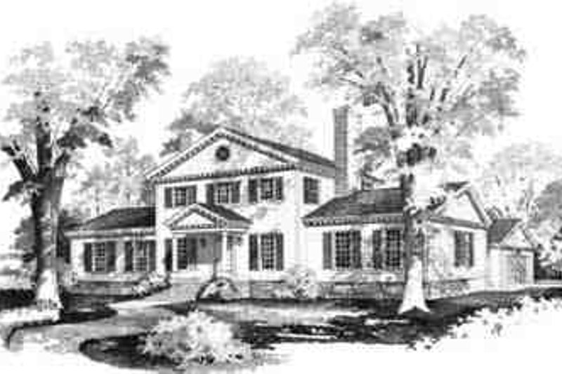 House Blueprint - Colonial Exterior - Front Elevation Plan #72-206