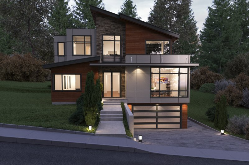 Contemporary Style House Plan - 6 Beds 5.5 Baths 5816 Sq/Ft Plan #1066-38 Exterior - Front Elevation