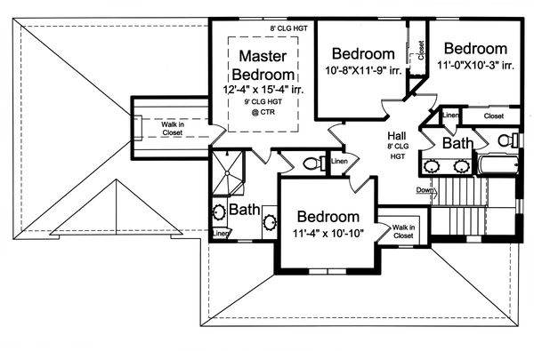 Traditional Floor Plan - Upper Floor Plan Plan #46-899