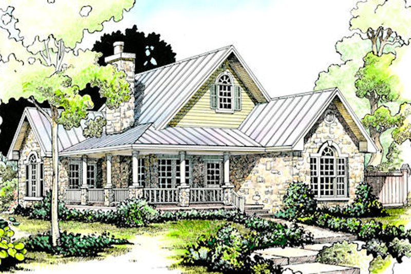 Country Style House Plan - 2 Beds 2 Baths 1065 Sq/Ft Plan #140-131 Exterior - Front Elevation