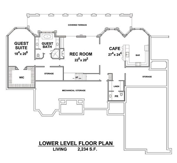 European Floor Plan - Lower Floor Plan Plan #20-2388