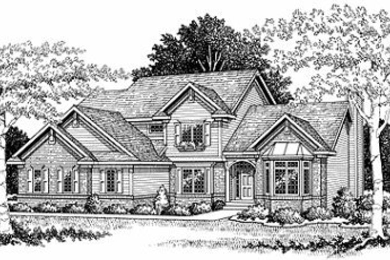Traditional Style House Plan - 4 Beds 2.5 Baths 2416 Sq/Ft Plan #70-385 Exterior - Front Elevation