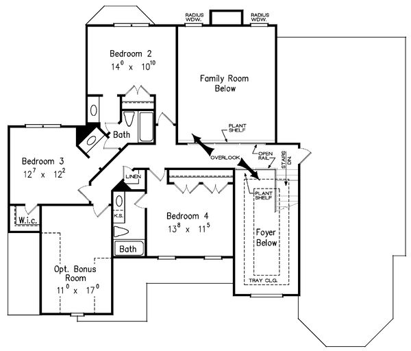 Traditional Floor Plan - Upper Floor Plan Plan #927-29