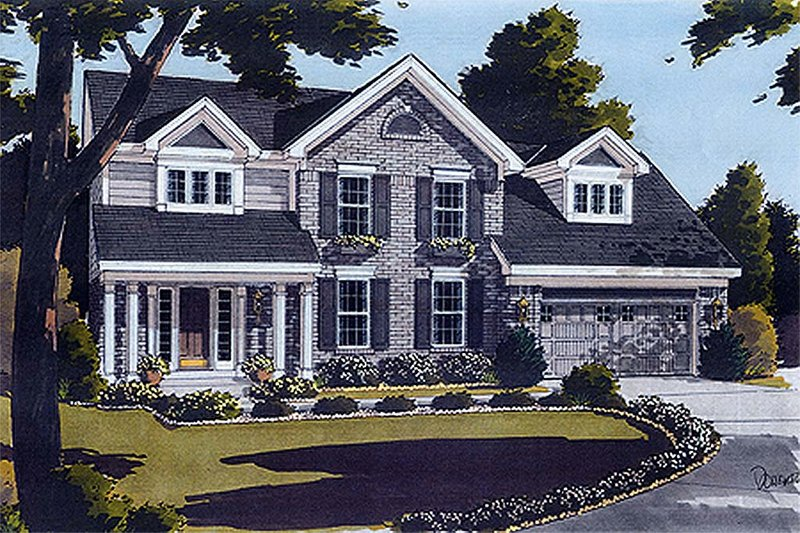 Colonial Exterior - Front Elevation Plan #46-125