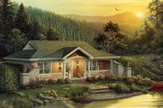 Cottage Style House Plan - 1 Beds 1 Baths 809 Sq/Ft Plan #57-361 Exterior - Front Elevation
