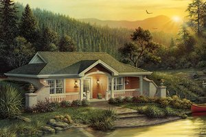 Cottage Exterior - Front Elevation Plan #57-361