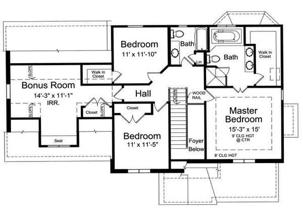 Traditional Floor Plan - Upper Floor Plan Plan #46-475