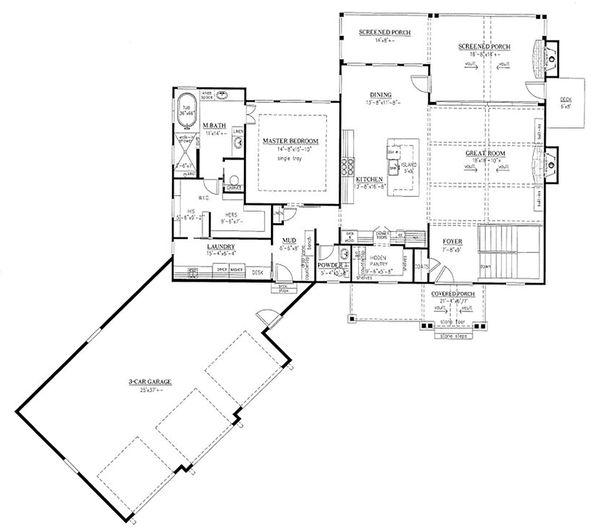 Craftsman Floor Plan - Main Floor Plan #437-124