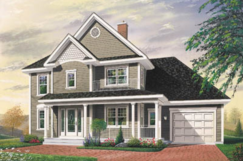 European Style House Plan - 3 Beds 1.5 Baths 1616 Sq/Ft Plan #23-298 Exterior - Front Elevation