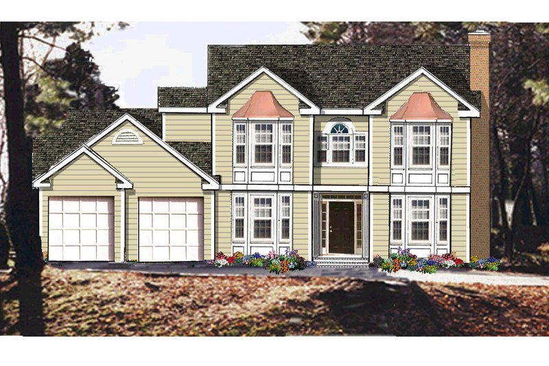 Traditional Style House Plan - 4 Beds 3.5 Baths 2334 Sq/Ft Plan #3-332 Exterior - Front Elevation