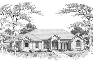 European Exterior - Front Elevation Plan #10-111