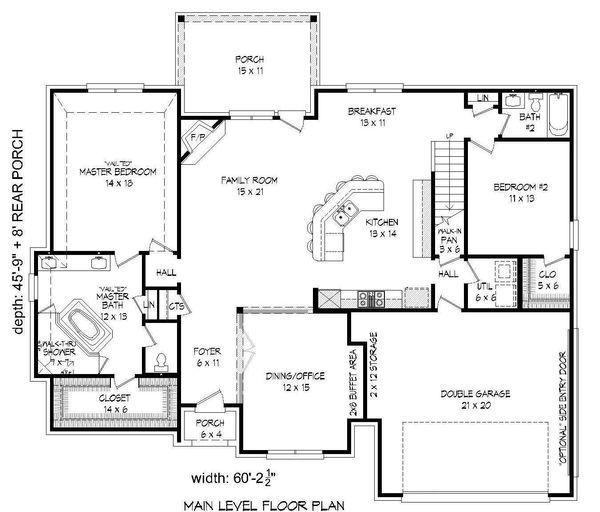 European Floor Plan - Main Floor Plan Plan #932-30