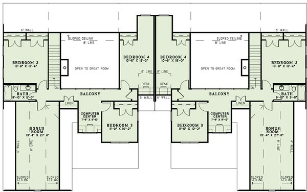 Traditional Floor Plan - Upper Floor Plan #17-2485