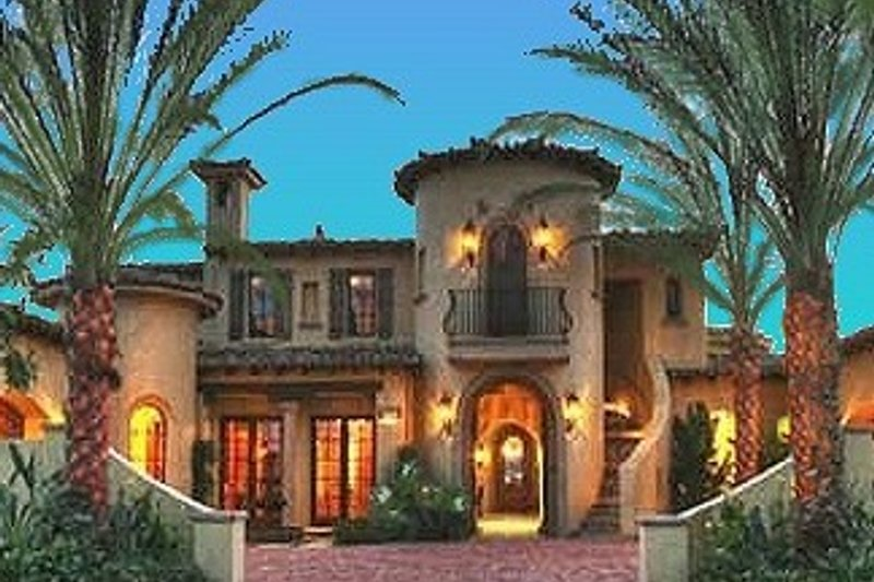 Mediterranean Style House Plan - 4 Beds 4.5 Baths 6755 Sq/Ft Plan #135-165 Exterior - Front Elevation