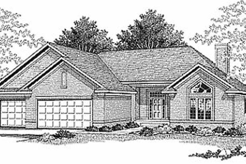 Traditional Style House Plan - 3 Beds 2 Baths 1927 Sq/Ft Plan #70-244 Exterior - Front Elevation